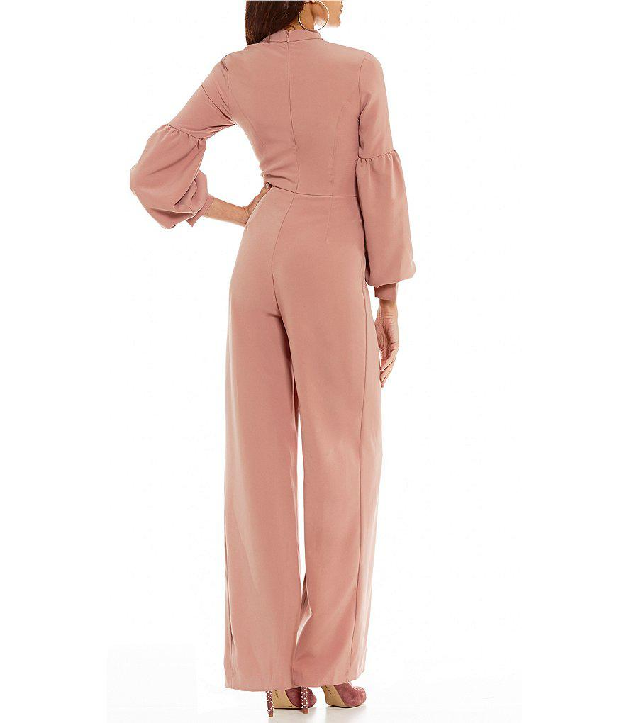 f706c36ac799 Lyst - Gianni Bini Reese Choker Neck Bubble Sleeve Jumpsuit in Pink