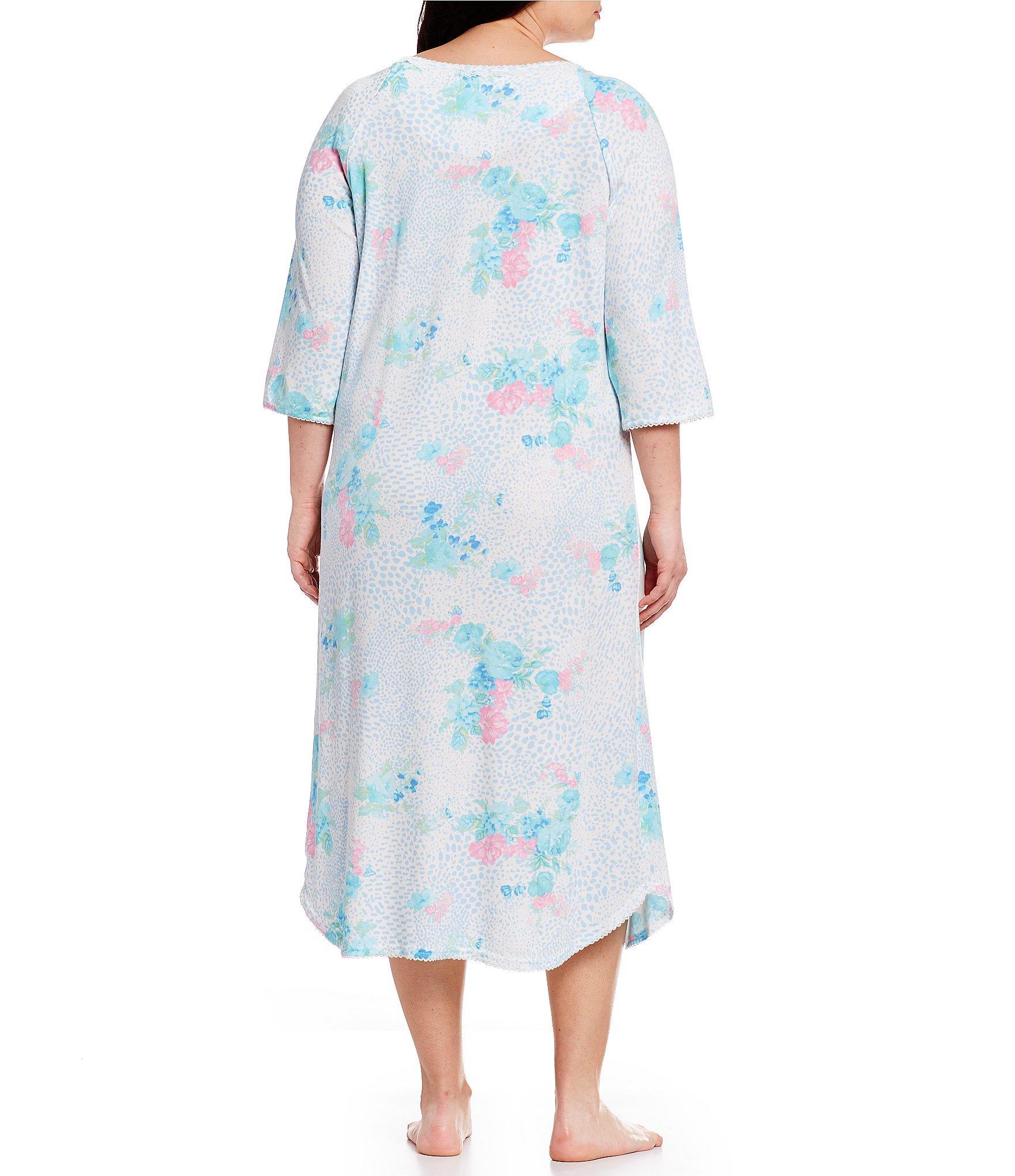 a0102410bc Miss Elaine - Blue Plus Cottonessa Floral-print Long Nightgown - Lyst. View  fullscreen