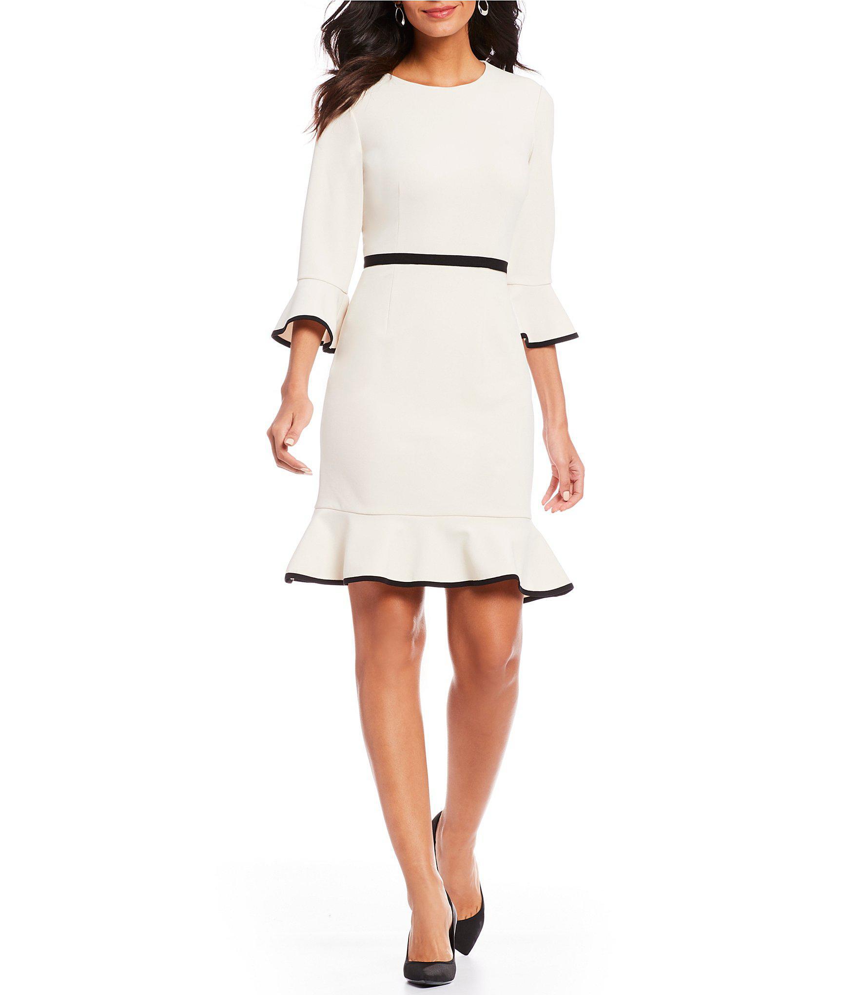 98217ca3364 Lyst - Donna Morgan Bell Sleeve Ruffle Hem Crepe Dress