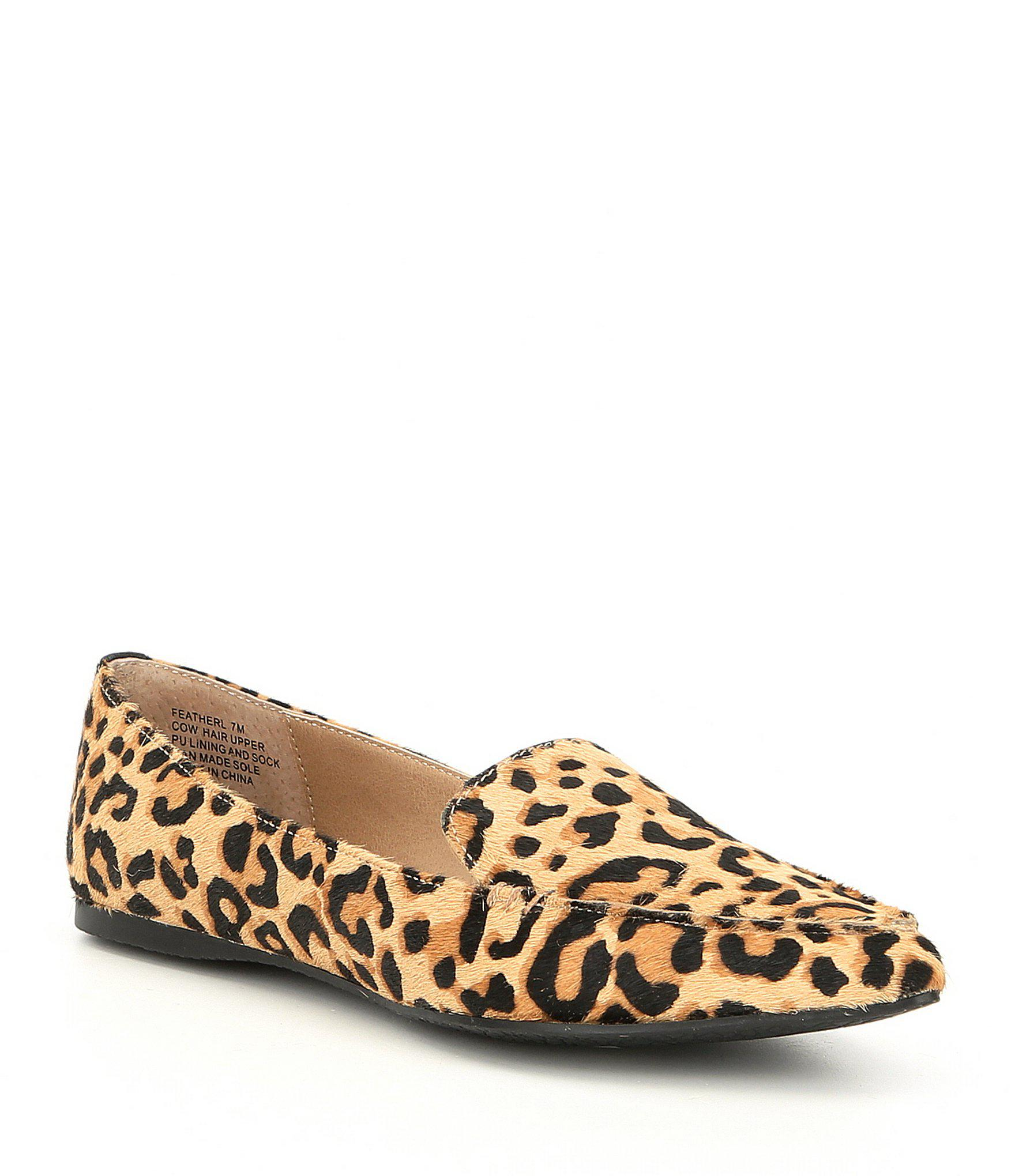 048cb3eafd4 Lyst - Steve Madden Feather Leopard Print Calf Hair Loafers in Brown