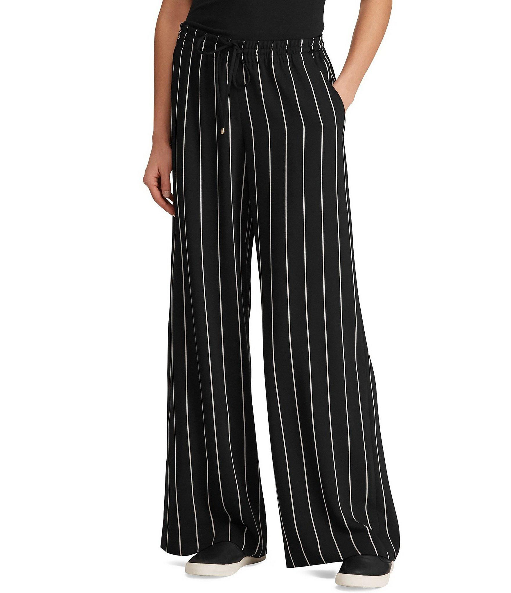 87458ab1c Lyst - Lauren by Ralph Lauren Striped Wide-leg Pants in Black