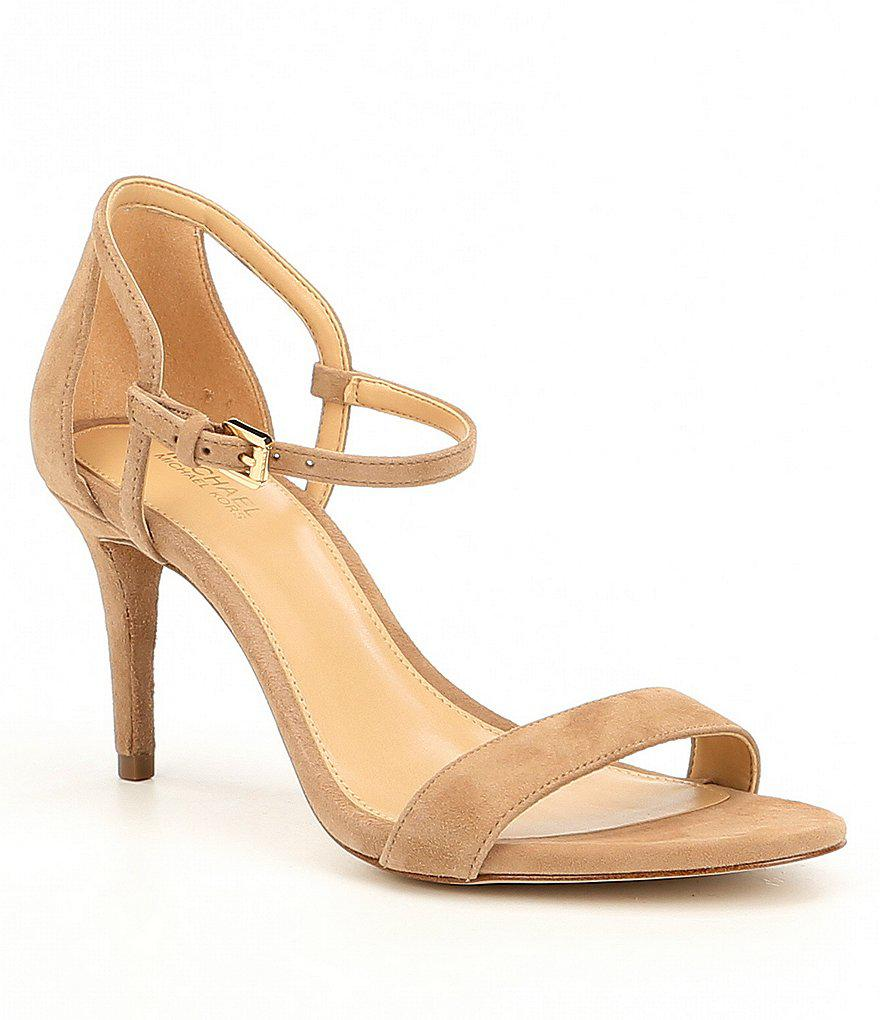 98e71f3bc873 Lyst - MICHAEL Michael Kors Simone Mid Suede Dress Sandals in Natural
