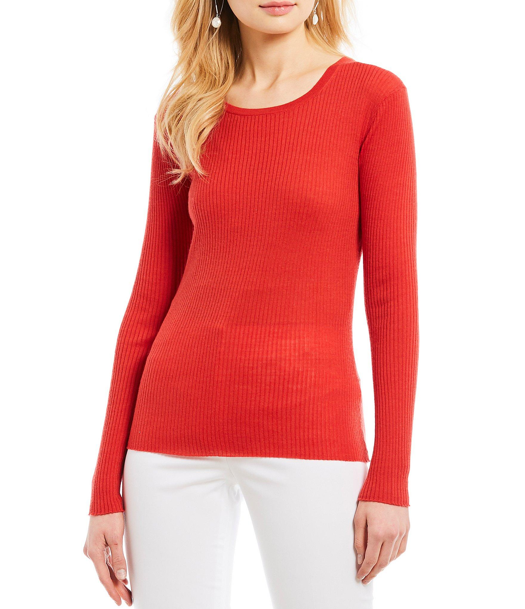 7c96a2005a4 Lyst - Antonio Melani Stephanie Long Sleeve Ribbed Knit Top in Red