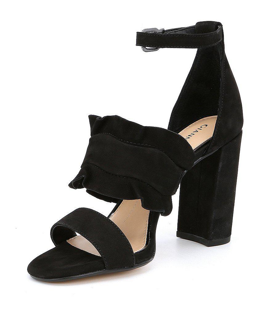 Gianni Bini Irinah Suede Ruffle Detail Block Heel Dress Sandals aVeQ4cbVh5