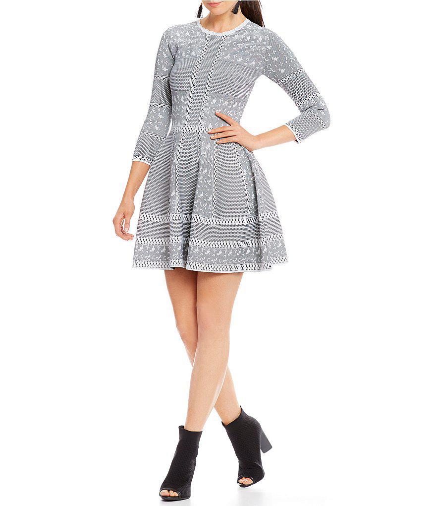 287fcaba5e8 Gianni Bini Fan Fav Tracy Skater Sweater Dress in Black - Lyst