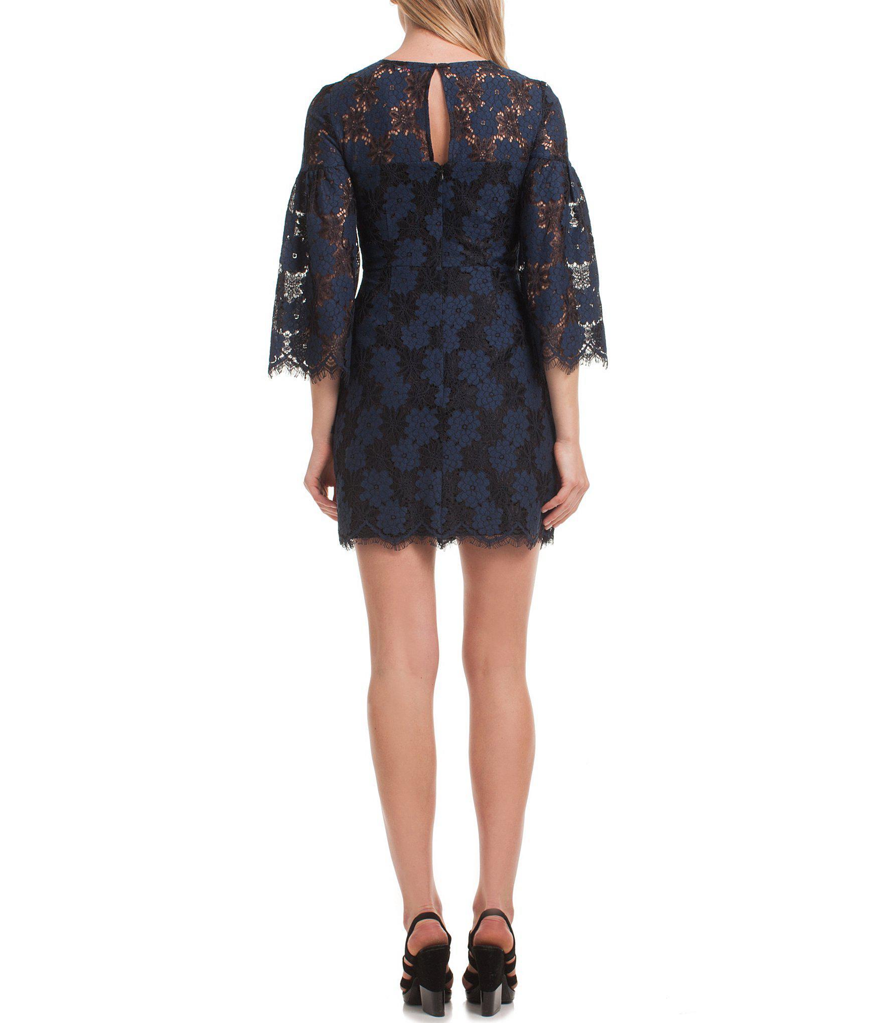 f4f4203e9d363 Trina Turk - Blue Trina Two Tone Floral Lace Bell Sleeve Mini Dress - Lyst.  View fullscreen
