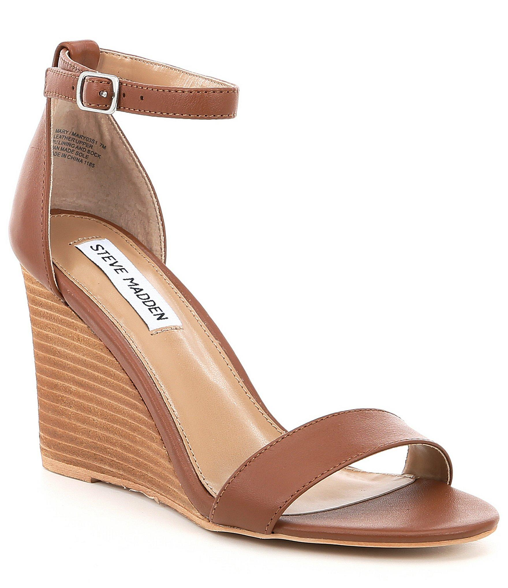 e1d4a02224d8 Steve Madden - Brown Mary Leather Stacked Wedge Sandal - Lyst. View  fullscreen