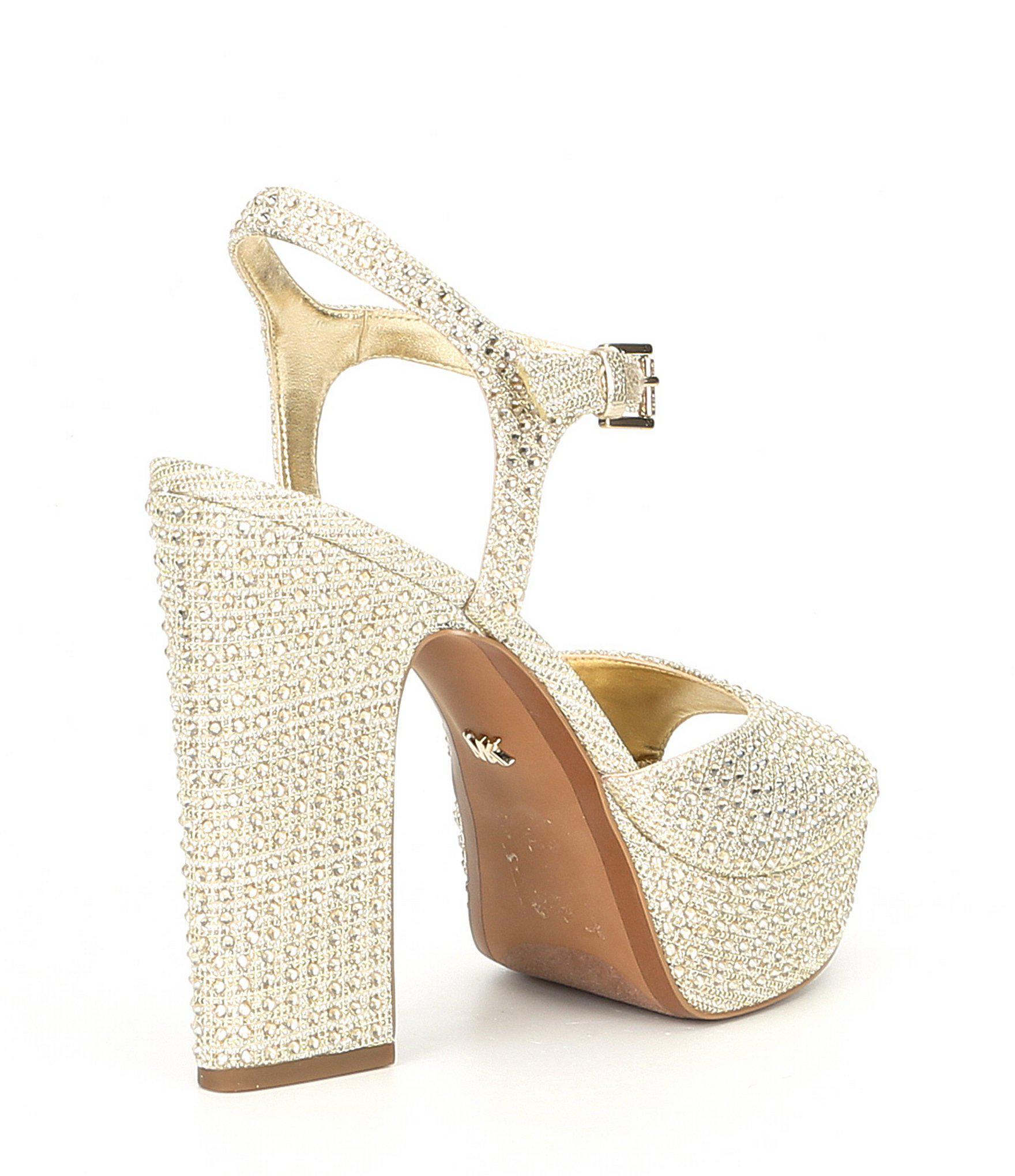 5deb20588bab Lyst - MICHAEL Michael Kors Bennett Platform Sandals in Metallic