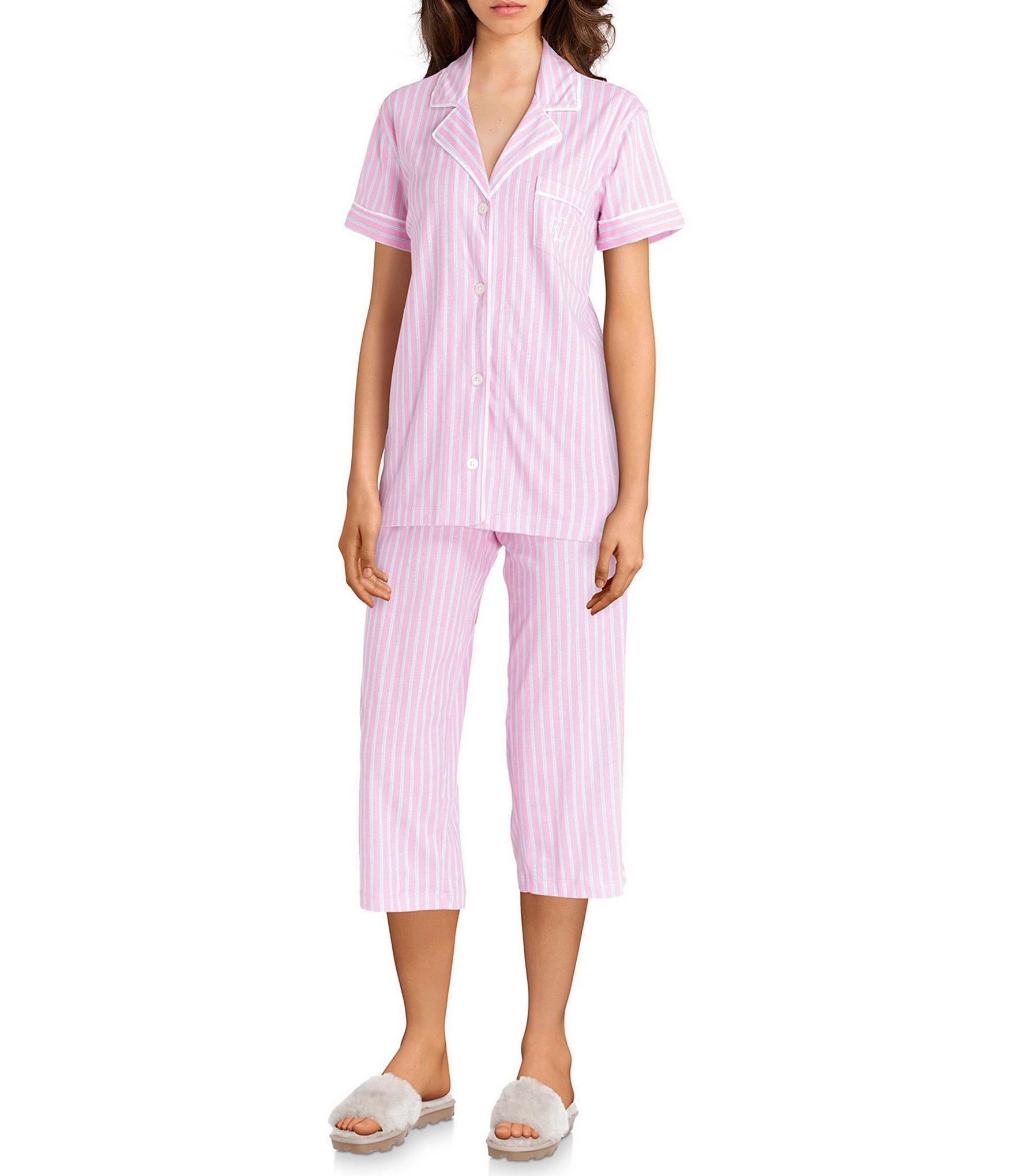 a493c50761e Lauren by Ralph Lauren. Women s Pink Striped-printed Knit Capri Pajama Set