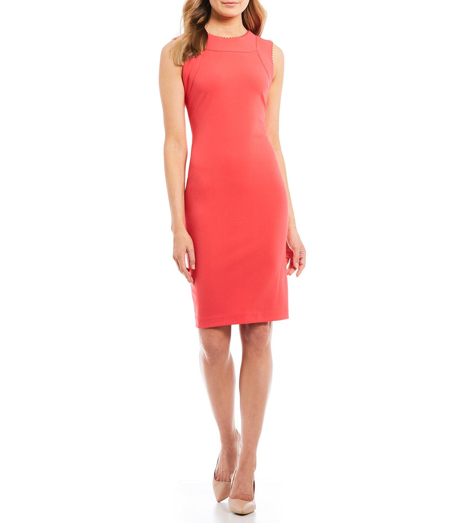 8ba18a5d30c Lyst - Calvin Klein Sleeveless Sheath Dress in Red