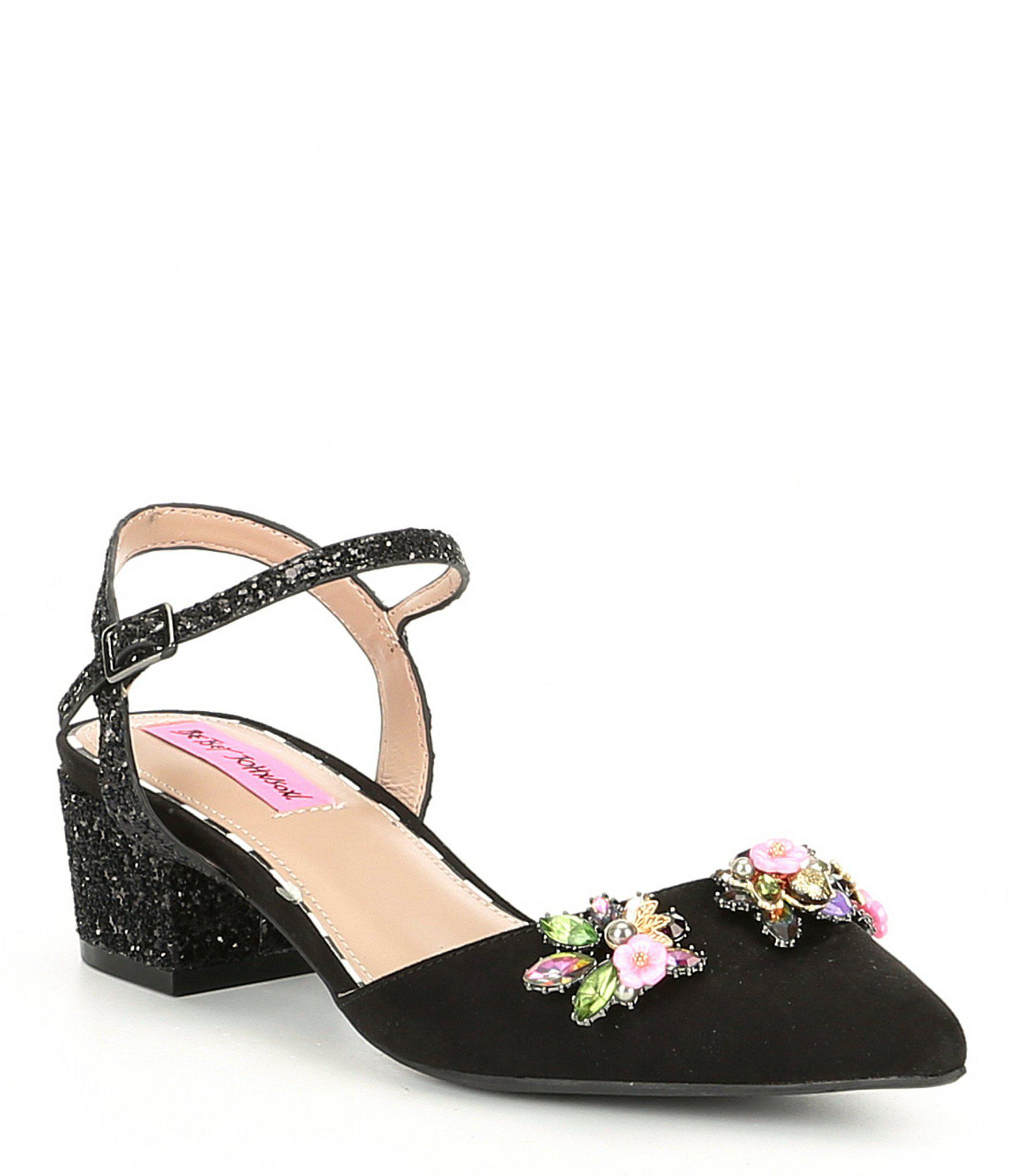 f31aa17a248 Betsey Johnson Black Elin Lucite Floral Block Heel Dress Pumps