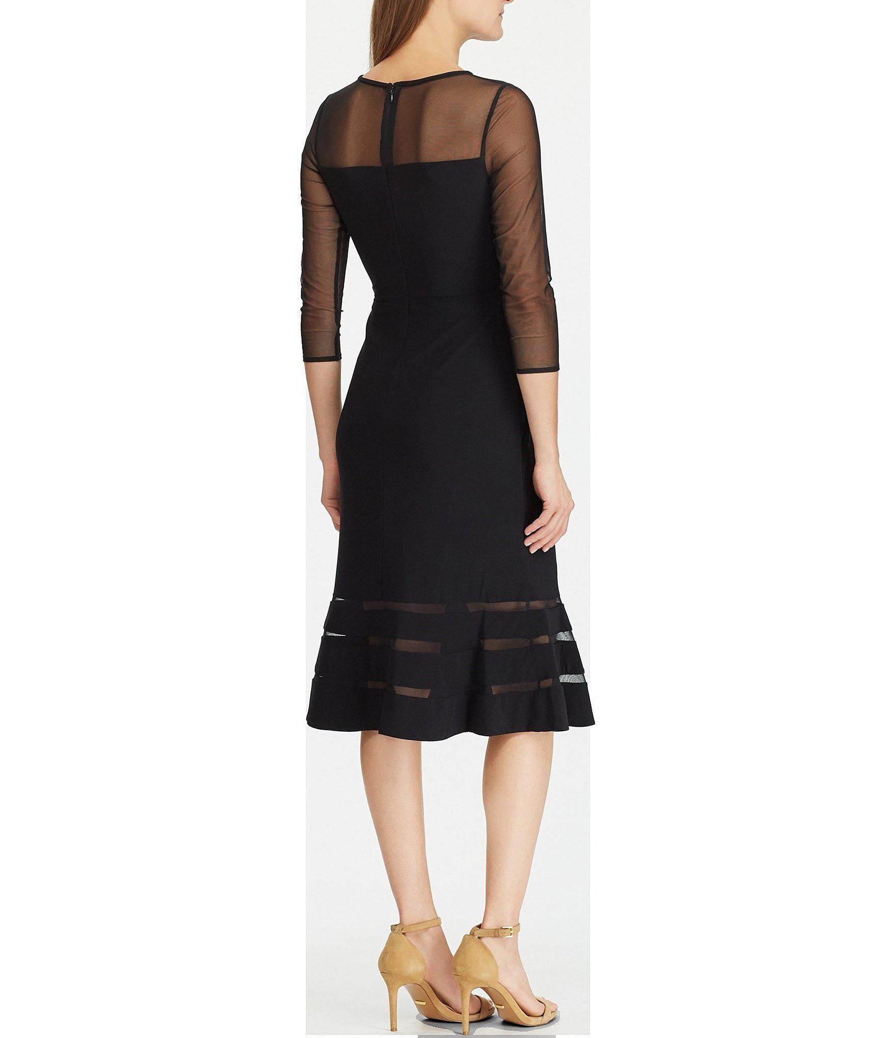945a4c1e50 Lauren by Ralph Lauren - Black Jersey Mesh Inset Flutter Hem Midi Dress -  Lyst. View fullscreen