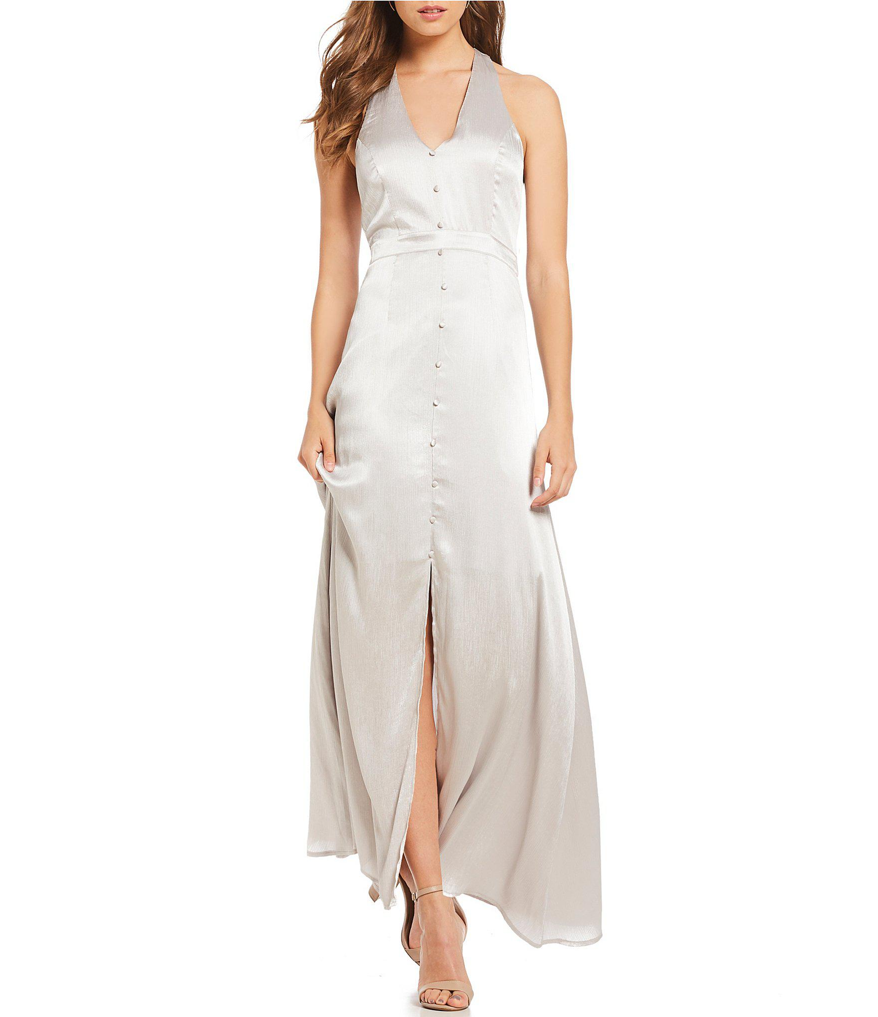 Front Button Satin Silver Dresses