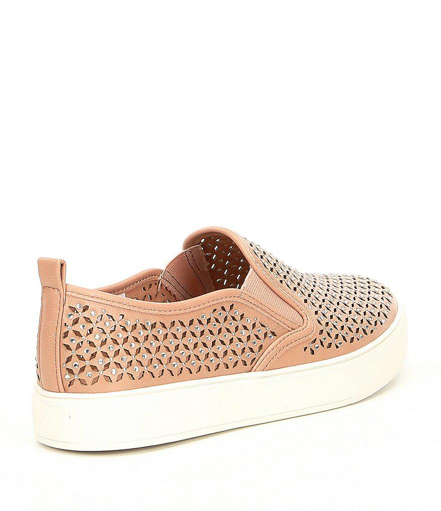 Aldo Cardabello Laser Perforated Rhinestone Jeweled Slip On Sneakers 6tIrd81qP
