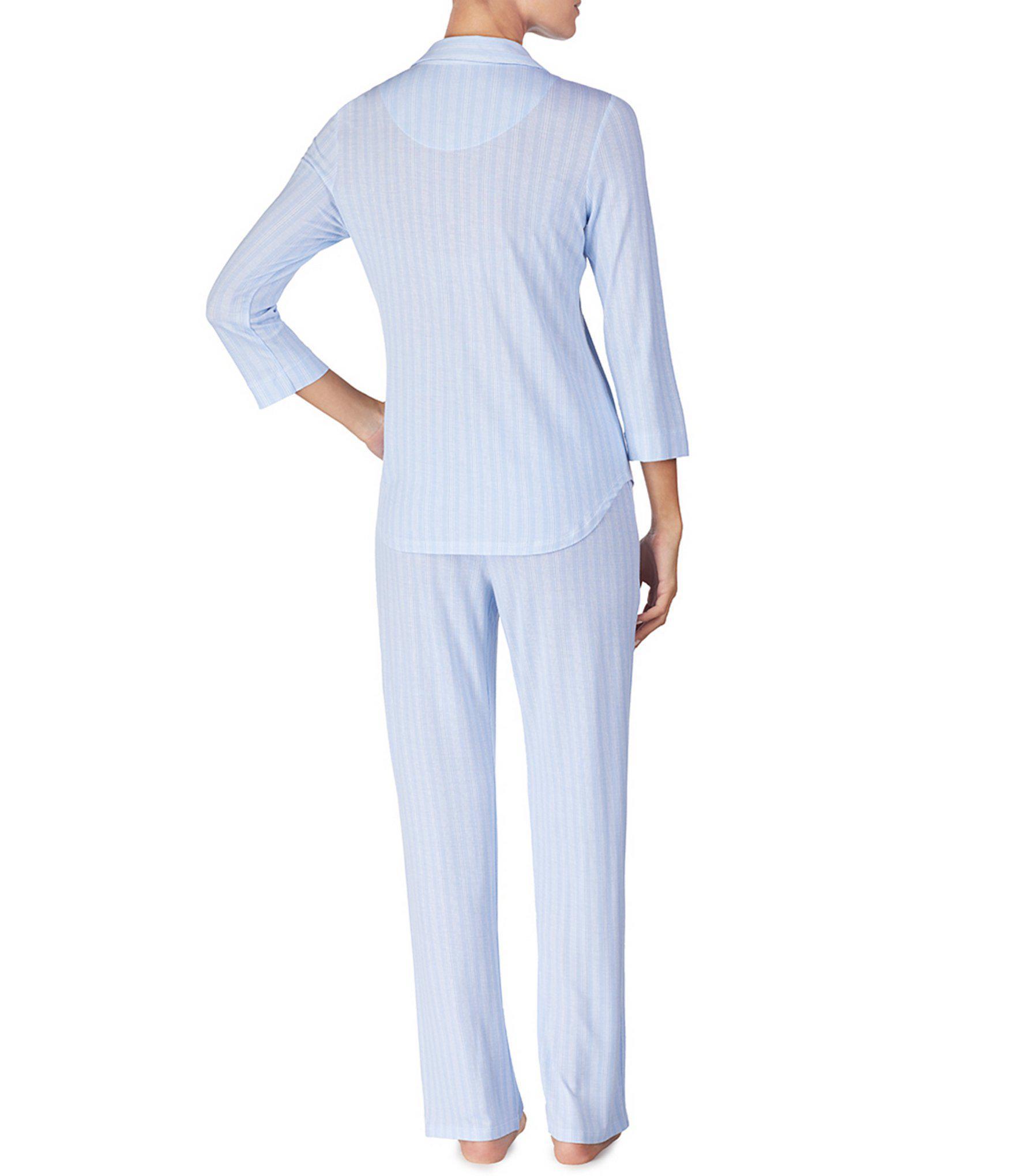 Lauren by Ralph Lauren - Blue Petite Striped-print Jersey Knit Pajamas -  Lyst. View fullscreen 210f9e359