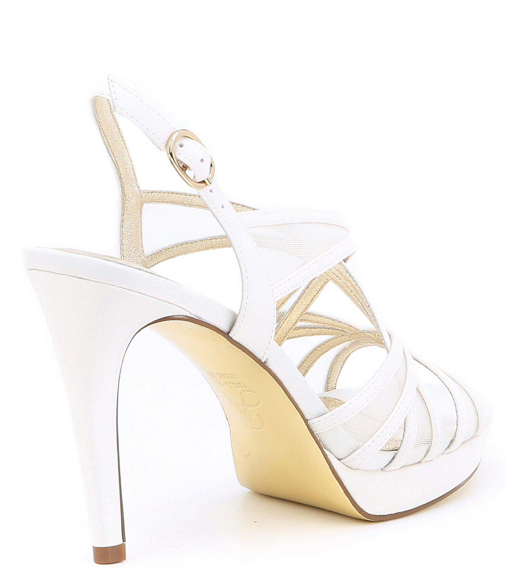 333e06e5f0f Adrianna Papell - White Adri Satin And Mesh Strappy Dress Sandals - Lyst.  View fullscreen