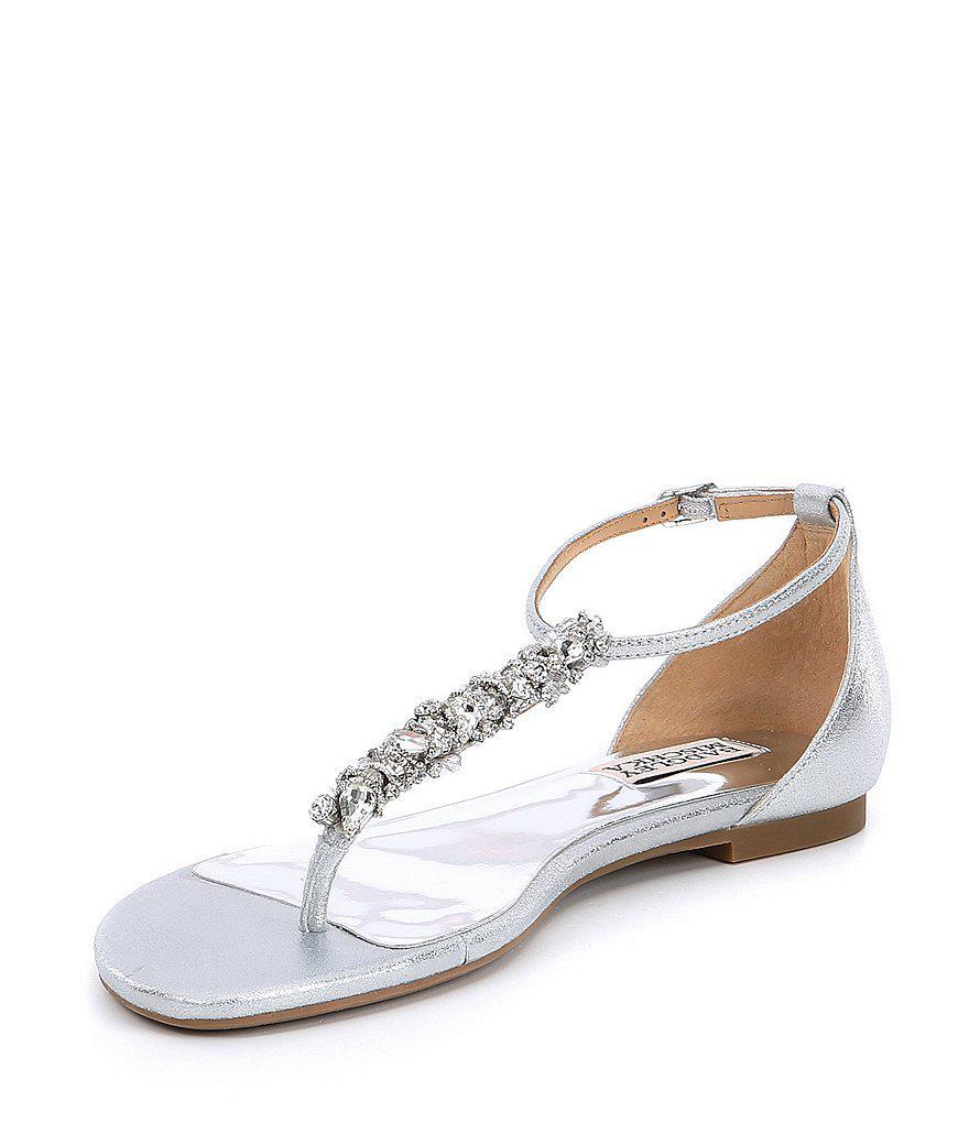 Badgley Mischka Holbrook Rhintestone Metallic Suede Dress Sandals Q94I94