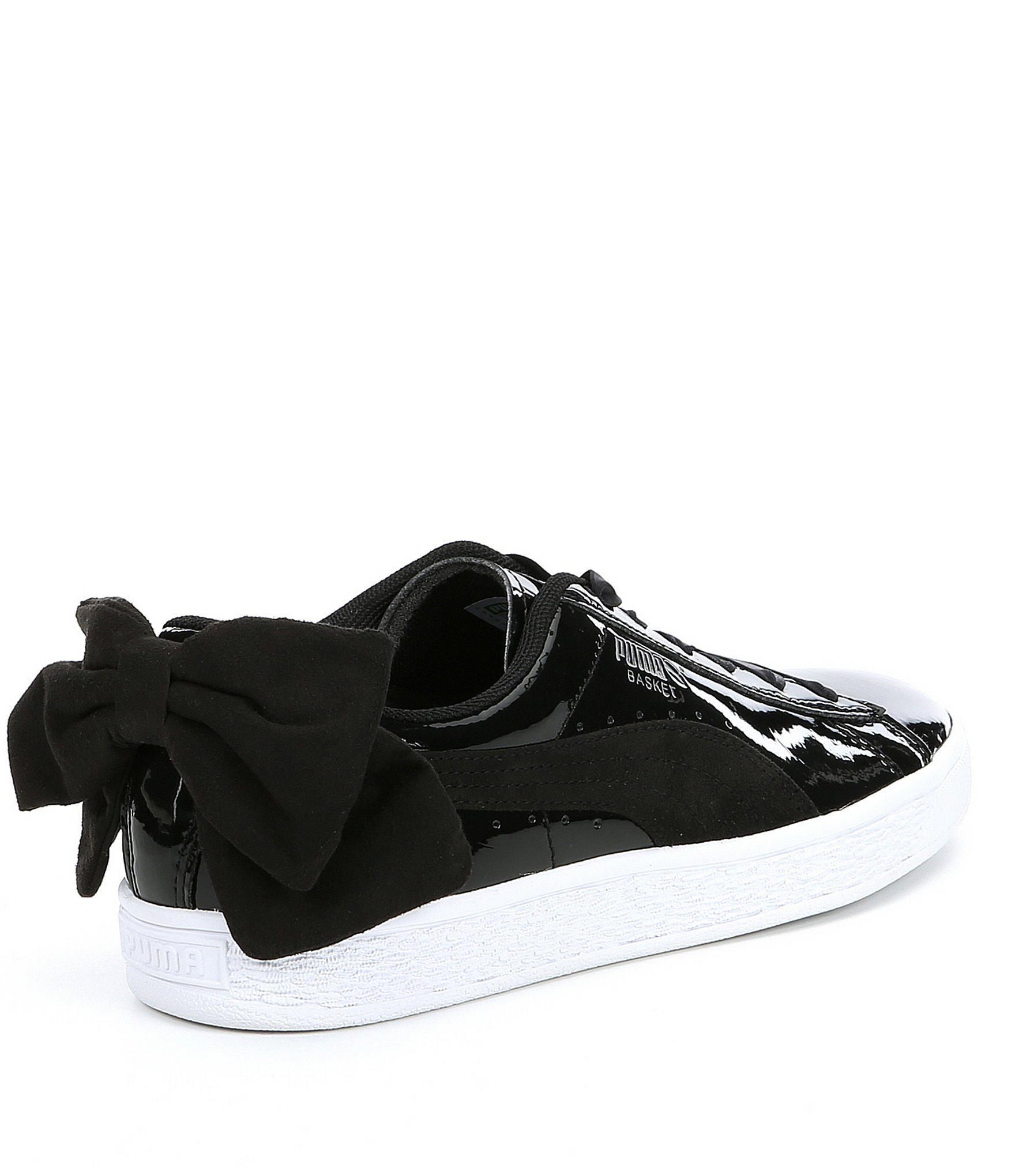 big sale 688fd afeec Women's Black Basket Bow Patent Leather Sb Sneakers