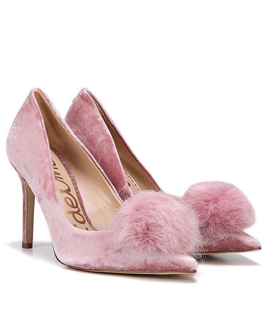 e57ebbd14805b Lyst - Sam Edelman Haroldson Velvet Pom Pom Pumps in Pink