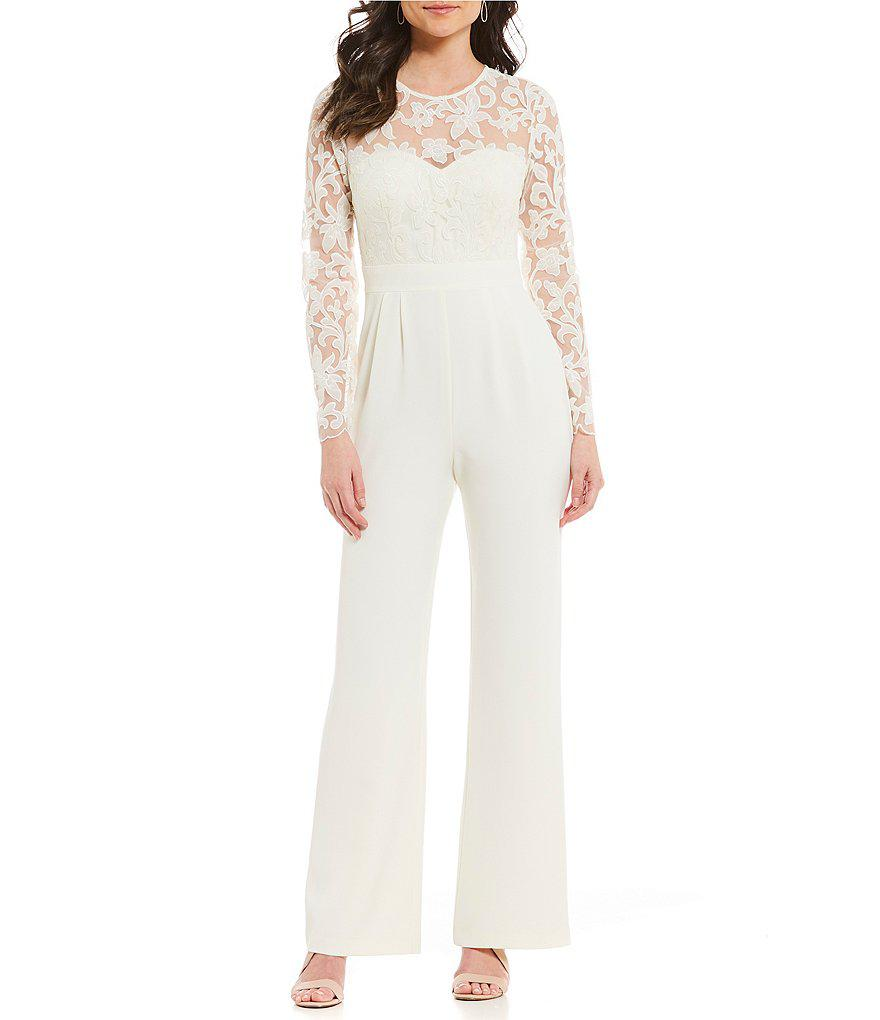 Eliza J. Women's White Embroidered Top Jumpsuit
