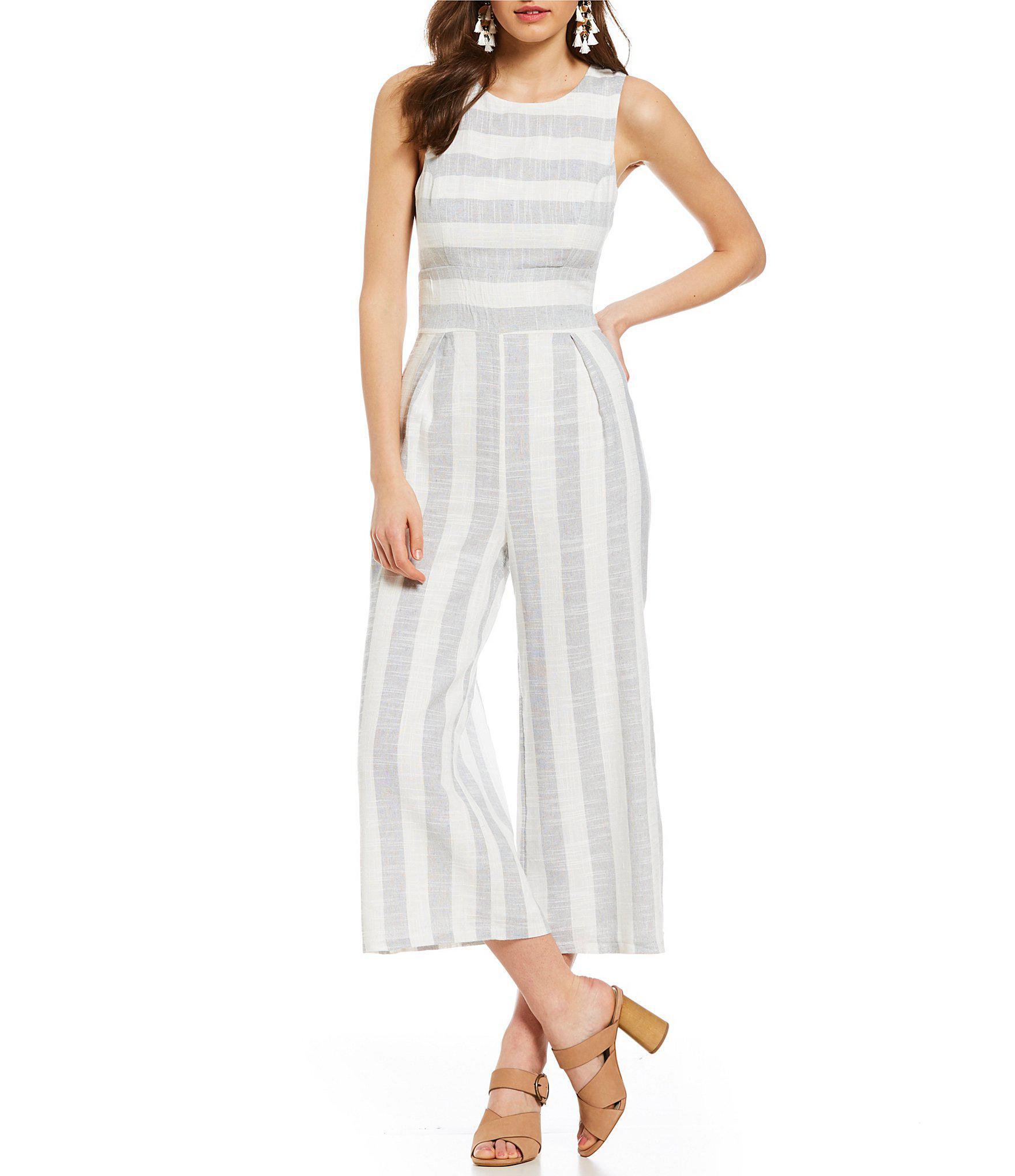 fc330a52e1b Lyst - Sugarlips Stripe Crop Culotte Jumpsuit in Gray