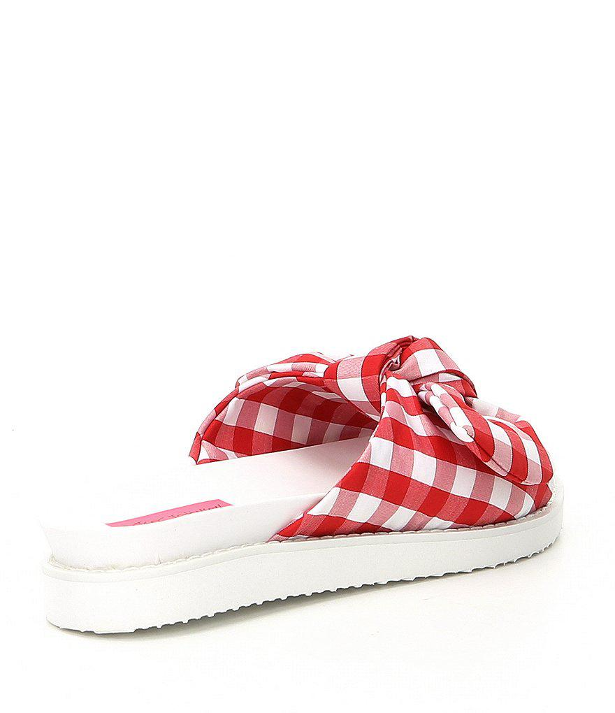 Betsey Johnson June Gingham Bow Slide Sandals eoJXVyO