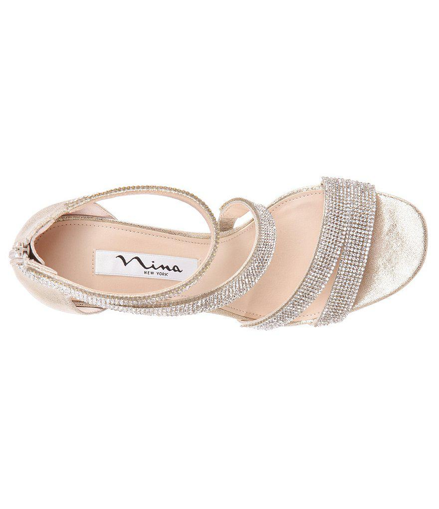 5e95da8a4bf4f Nina Alissa Metallic Suede Rhinestone Detail Strappy Dress Sandals  DwIRhzBRsl