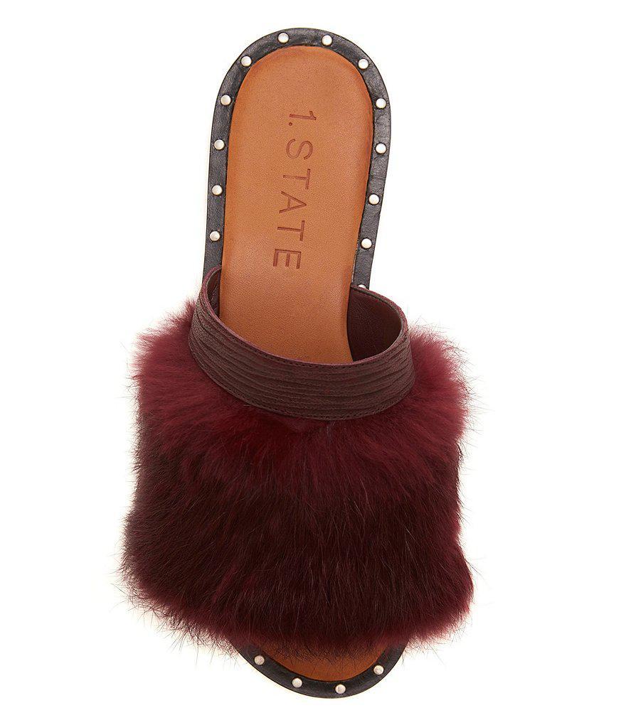 Carrisma Rabbit Fur Studded Slide Sandals 0JDyYWnWLV