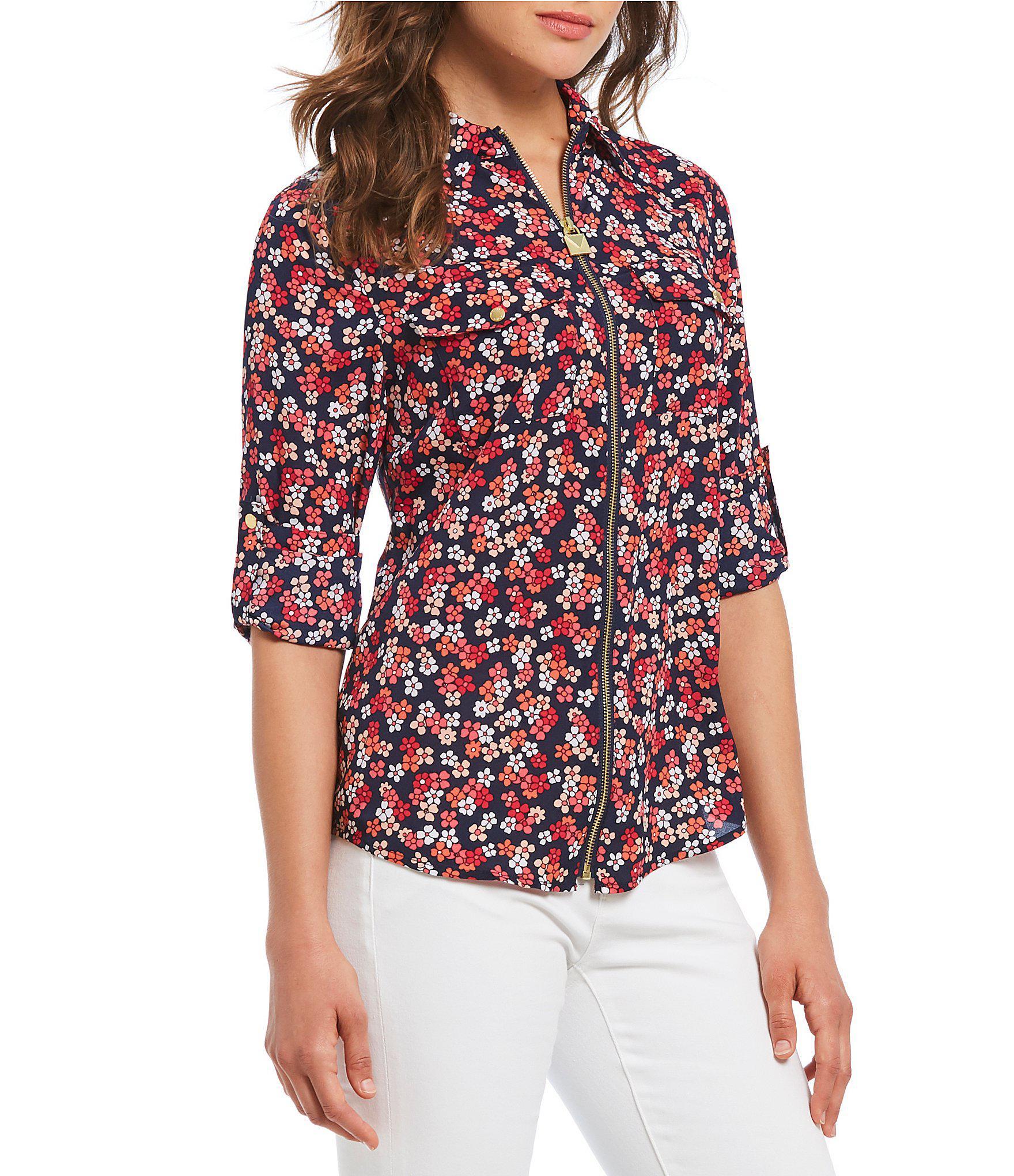 5c278febd88 Lyst - MICHAEL Michael Kors Cherry Blossoms Floral Print Roll-sleeve ...