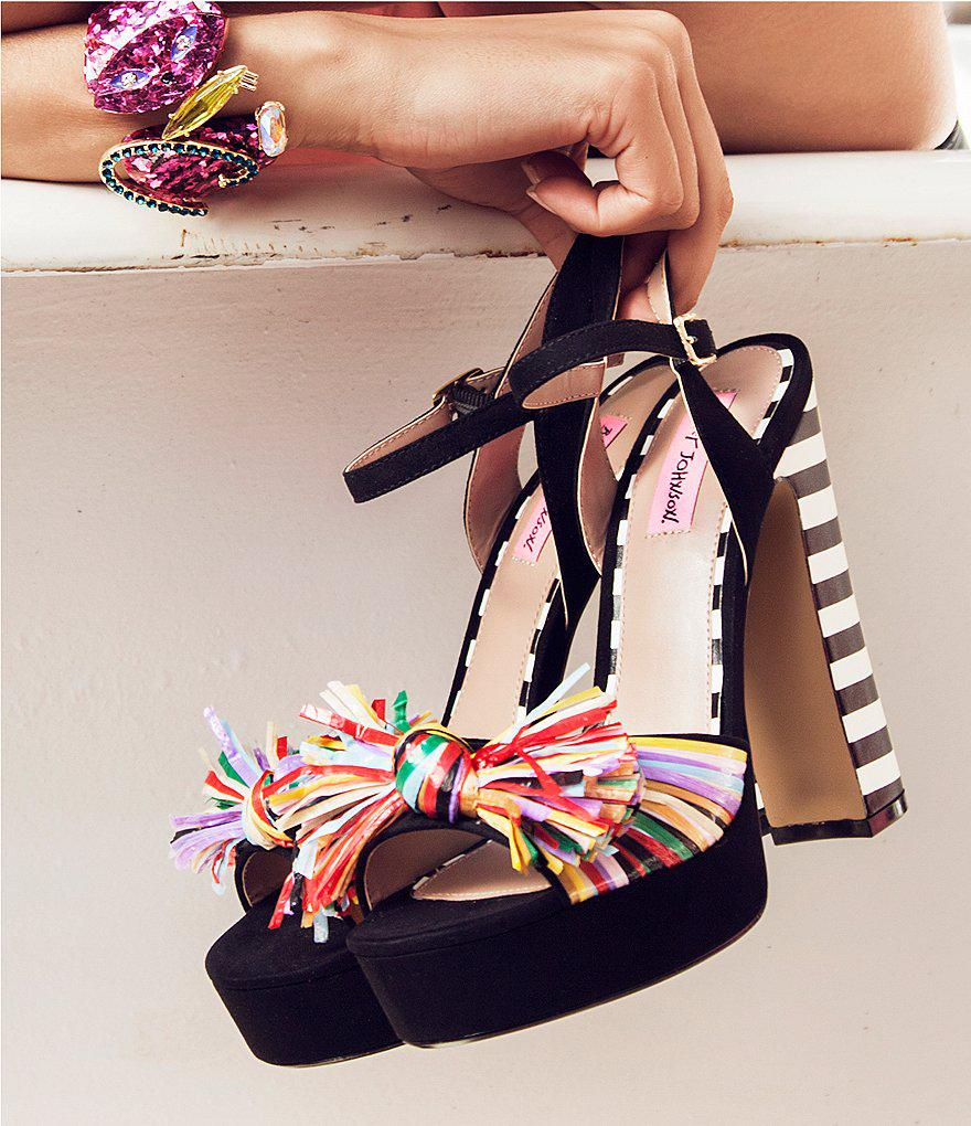Mandy Multicolor Raffia Ankle Strap Striped Block Heel Platform Sandals yOiBMrsqDf