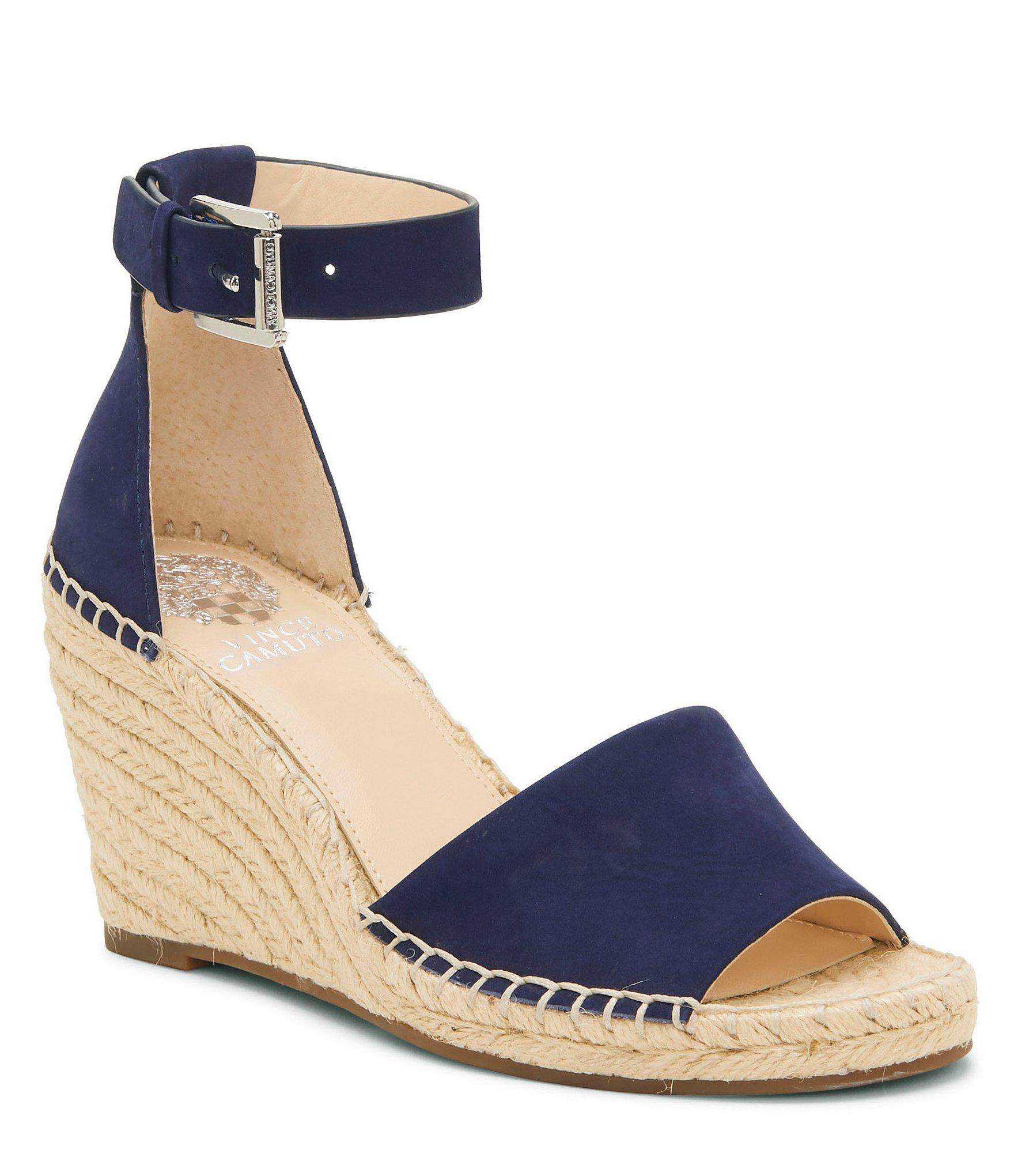 47abff896fb Lyst - Vince Camuto Leera Nubuck Espadrille Wedge Sandals in Blue