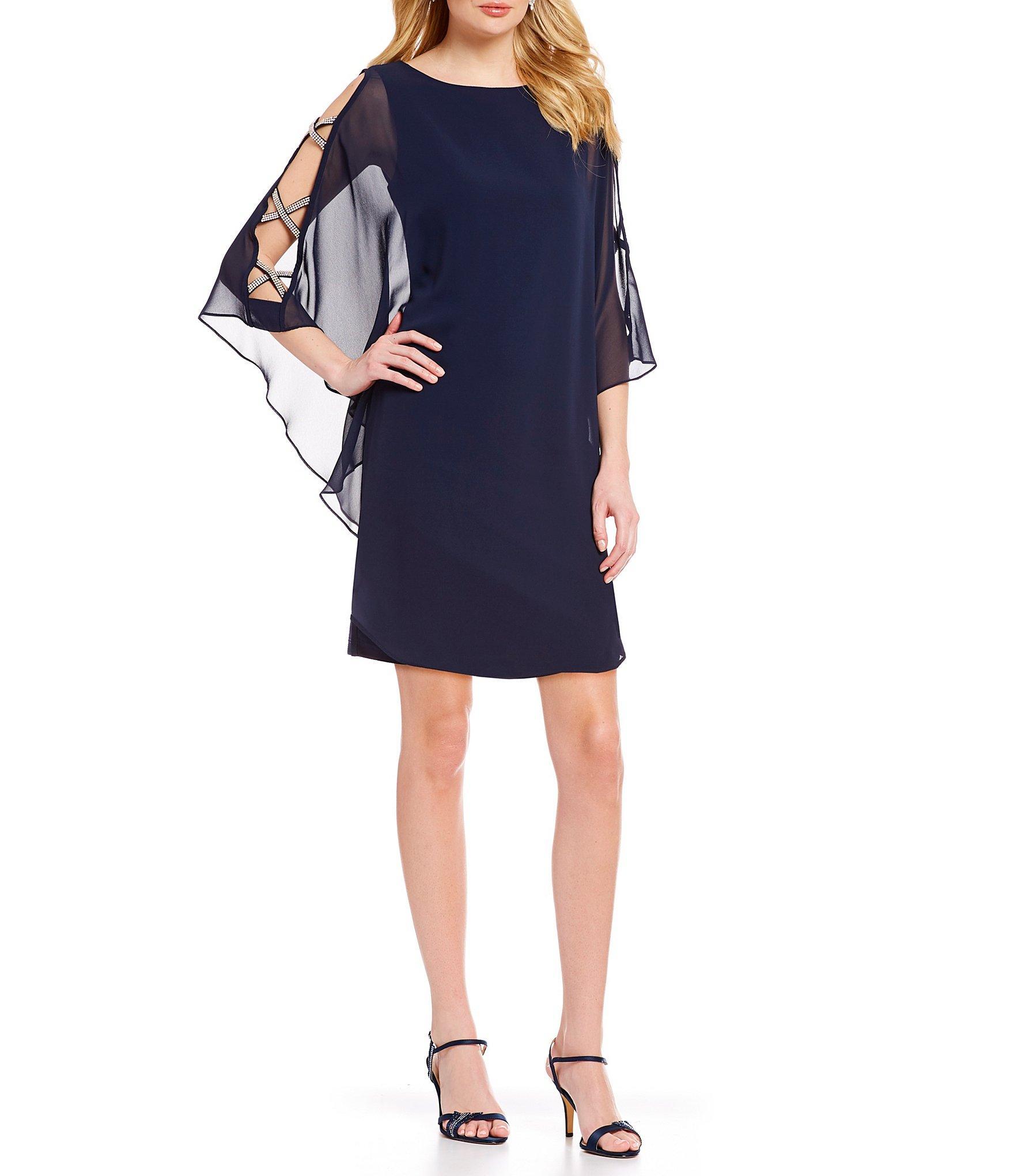 c97c0b9ee0f Lyst - Xscape Chiffon Cape Sleeve Sheath Dress in Blue