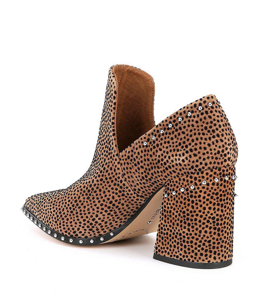 Daveigh Cheetah Print Suede Studded Block Heel Booties 21tWdFDqY
