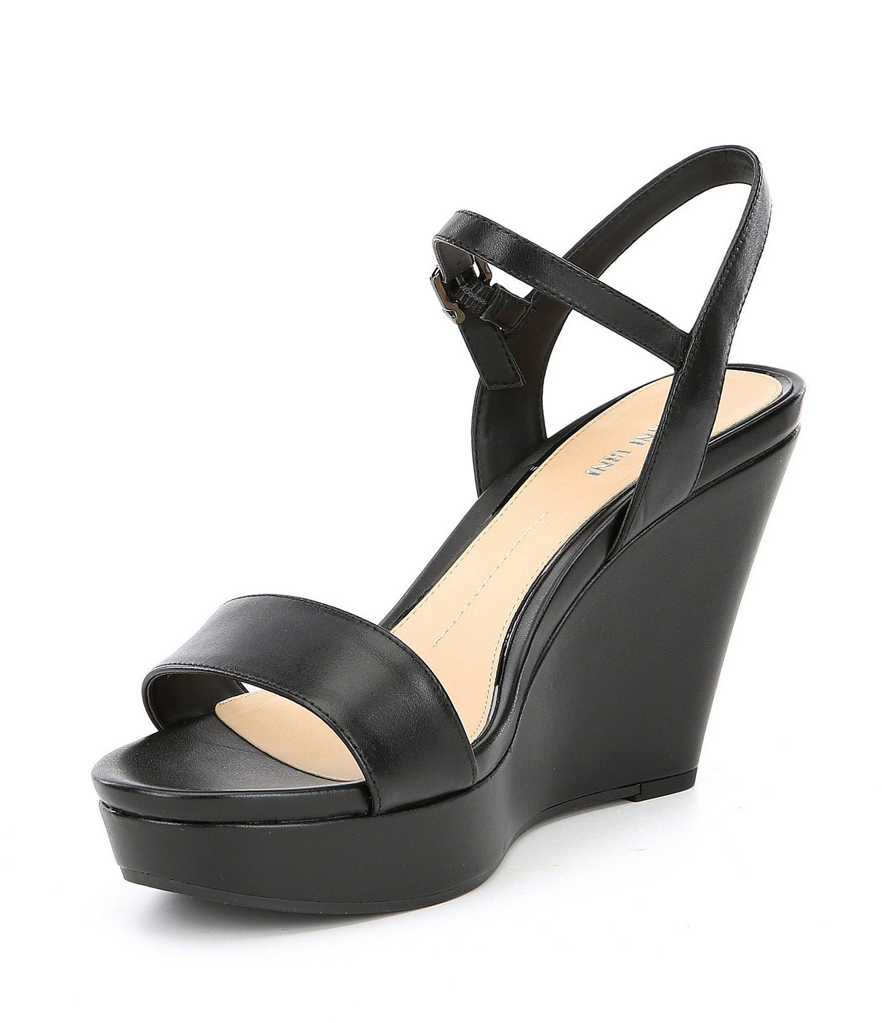 f94a50e1104b Lyst - Gianni Bini Juudeth Leather Wedges in Black