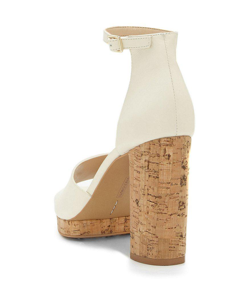 7baf0cd61cfa Lyst - Vince Camuto Ciestie Leather Platform Cork Block Heel Sandals ...