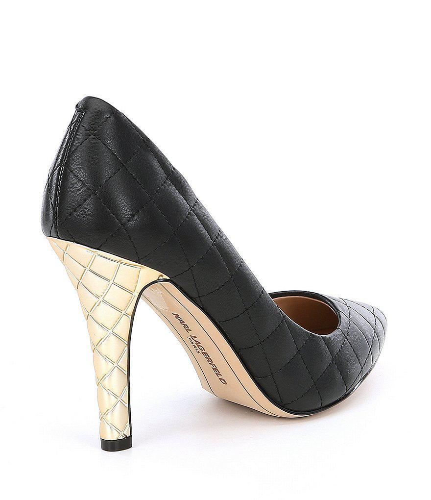 41051b6f611 Lyst - Karl Lagerfeld Anara Leather Quilted Metal Heel Pumps in Black