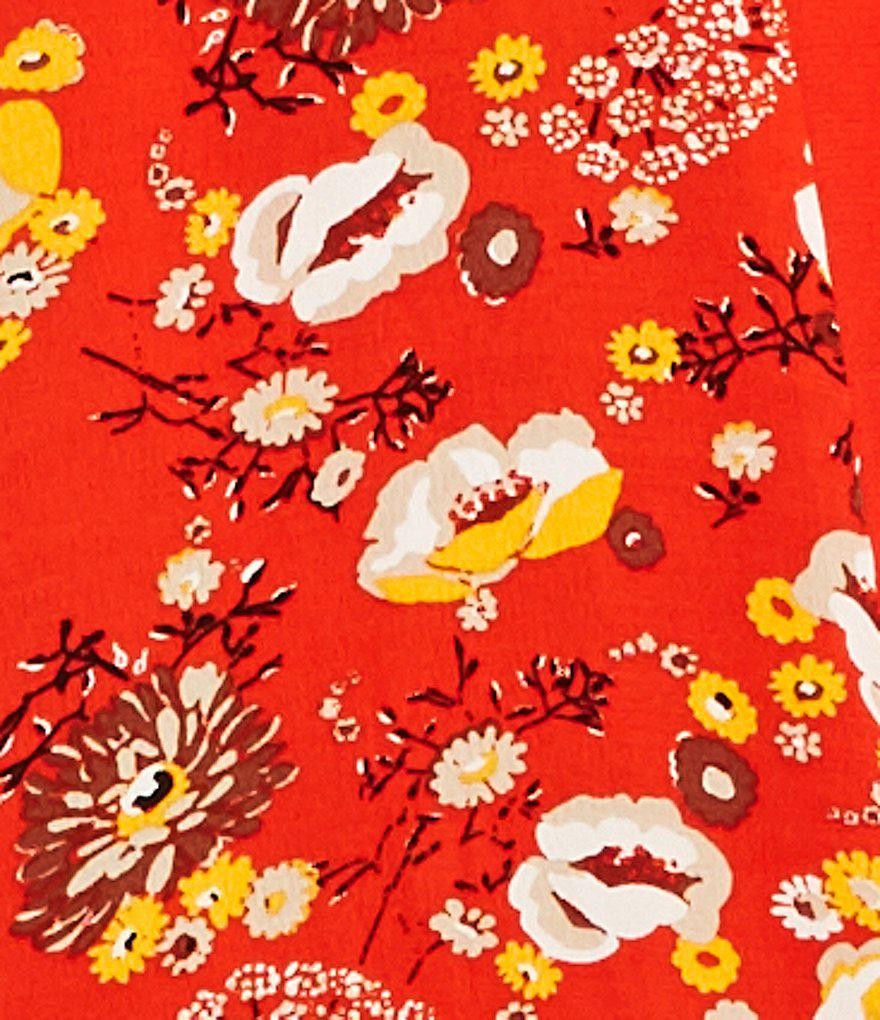 Free People Gorgeous Jess Floral Print Wrap Dress In Red Combo