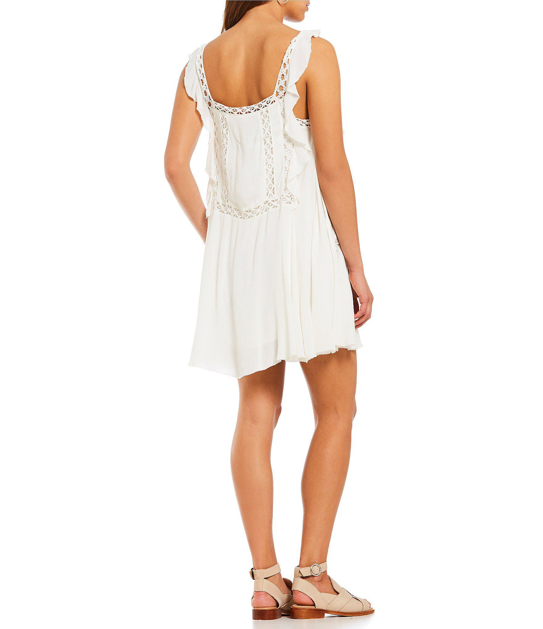 2eb4bf36744 Lyst - Free People Priscilla Embroidered Eyelet Shift Dress in White