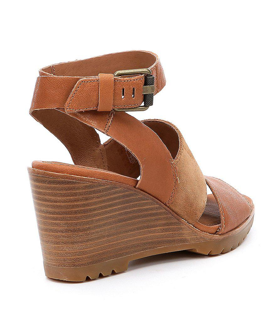 After Hours Leather and Suede Ankle Strap Wedge Sandals iB951WAGs