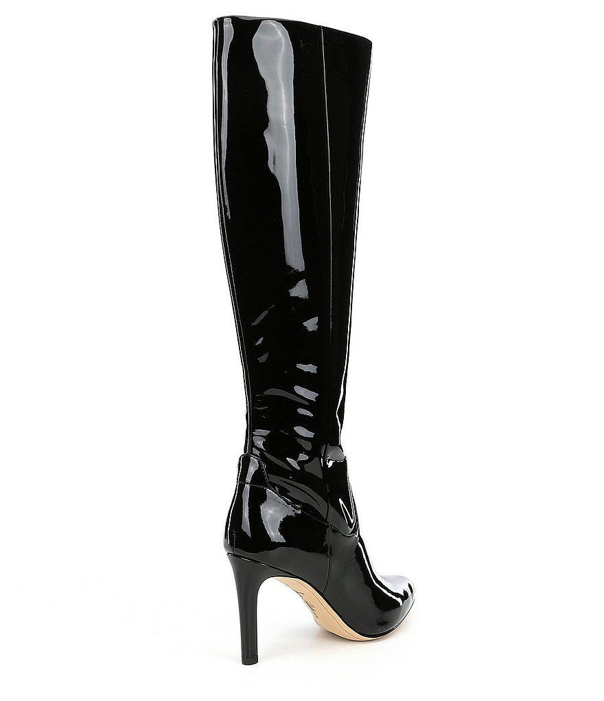 5b9a7ab81 Lyst - Sam Edelman Olencia Patent Leather Boots in Black