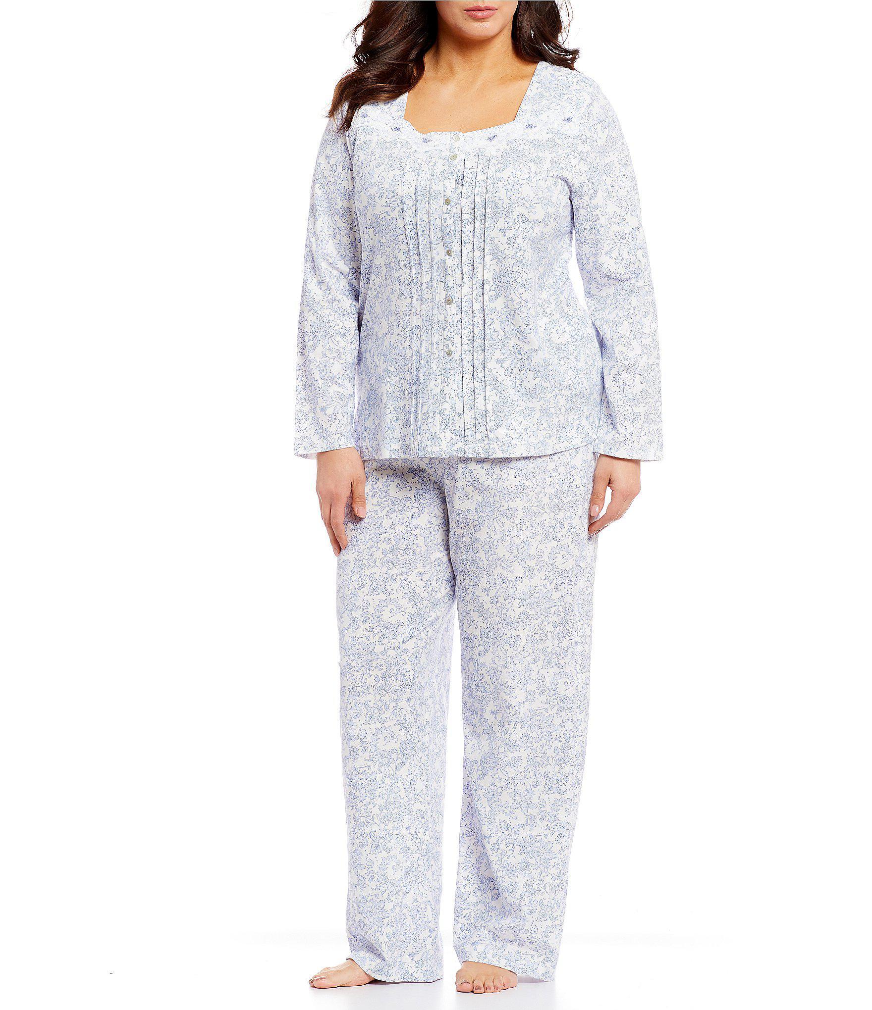 e72cfceb41 Lyst - Carole Hochman Plus Cotton   Lace Pajamas in White