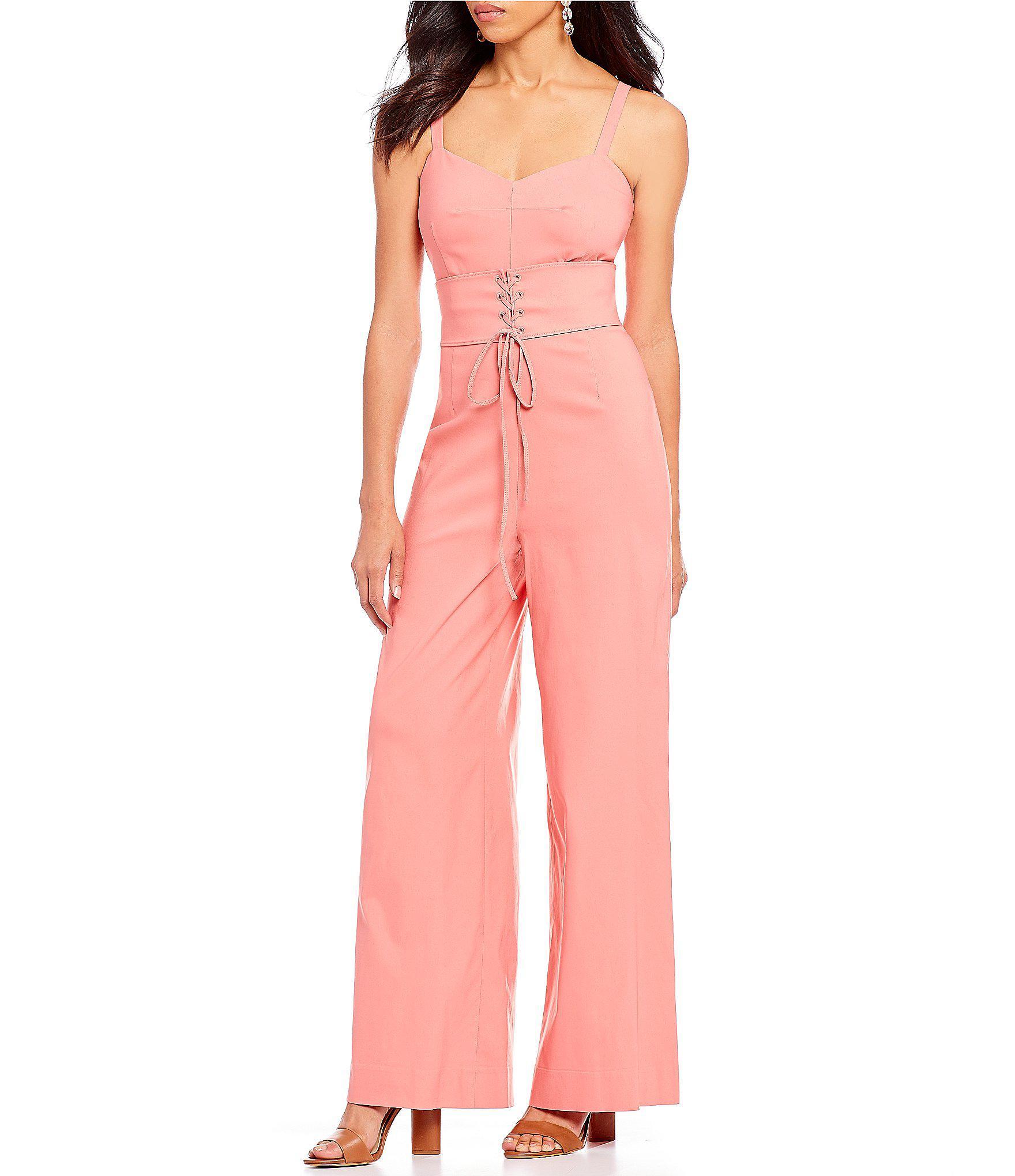 91f6f7f5d8a Lyst - Gianni Bini Kyra Lace-up Corset Waist Wide Leg Jumpsuit in Pink