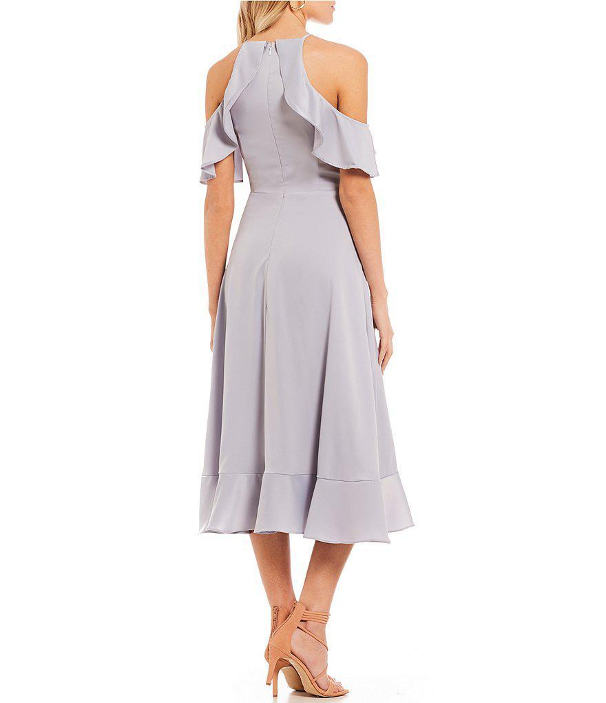 5f2cb5e62e3 Gianni Bini Carina Satin Ruffle Hem Dress in Metallic - Lyst