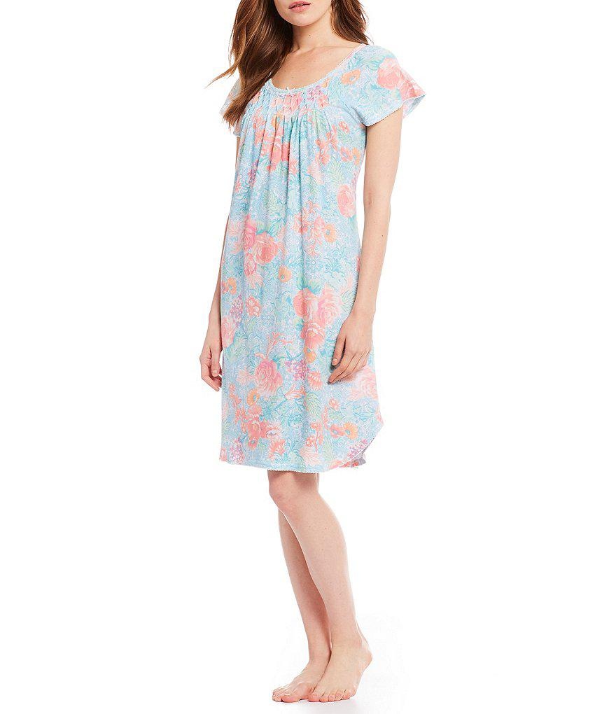 d1822a4c3e Lyst - Miss Elaine Petite Cottonessa Filagree-printed Nightgown in Blue