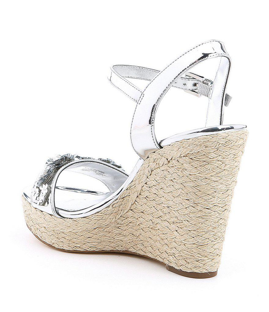 7f882c07330 MICHAEL Michael Kors Metallic Jill Sequin Floral Detail Espadrille Wedge  Sandals