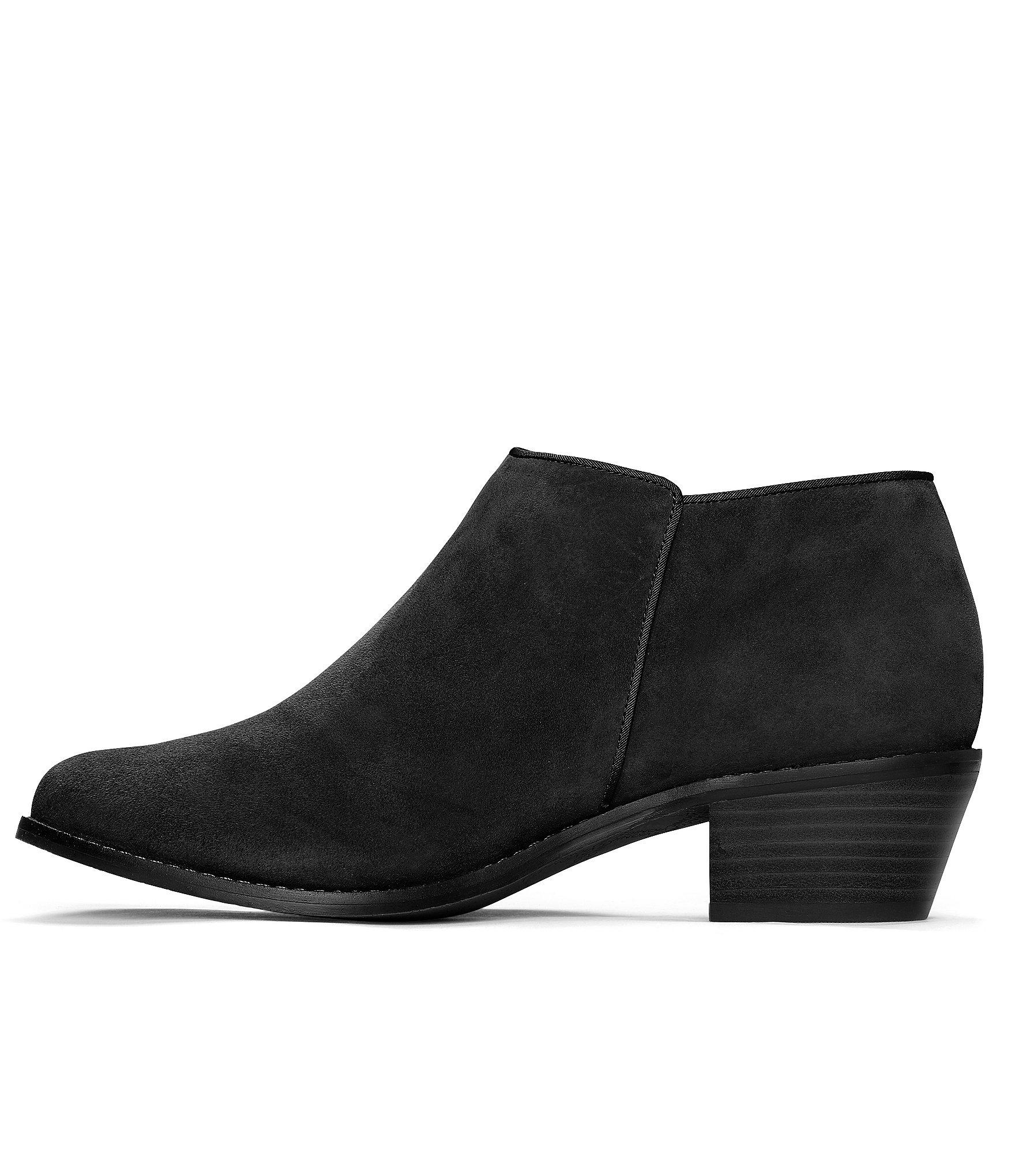 Serena Water Resistant Suede Zipper With Tassel Pull Block Heel Ankle Boots