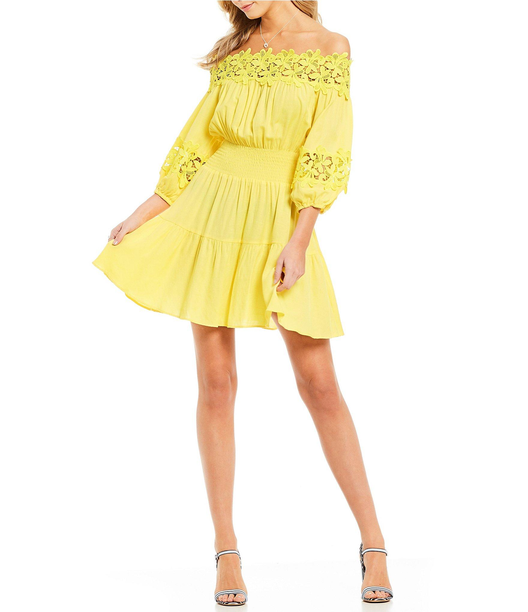 2cfc162db43 Gianni Bini Jason Off-the-shoulder Smocked Dress in Yellow - Lyst
