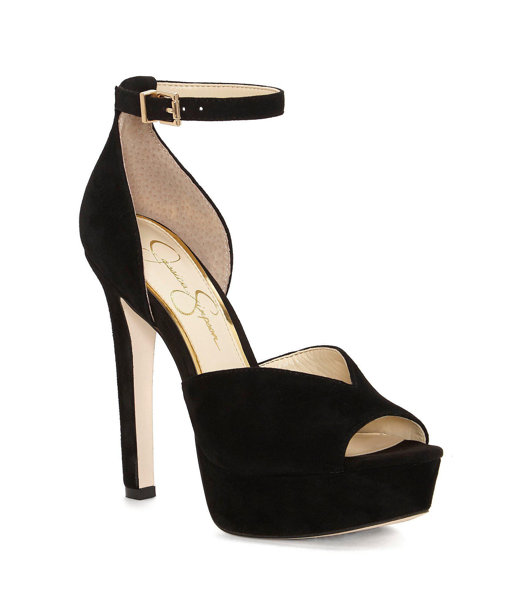 2c1e9d7c13 Lyst - Jessica Simpson Briya Suede Peep Toe Platform With Ankle ...