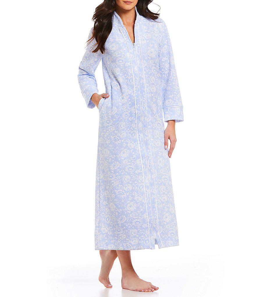 Lyst - Carole Hochman Floral-print Quilted Zip-front Long Robe in Blue 0cbfcb973