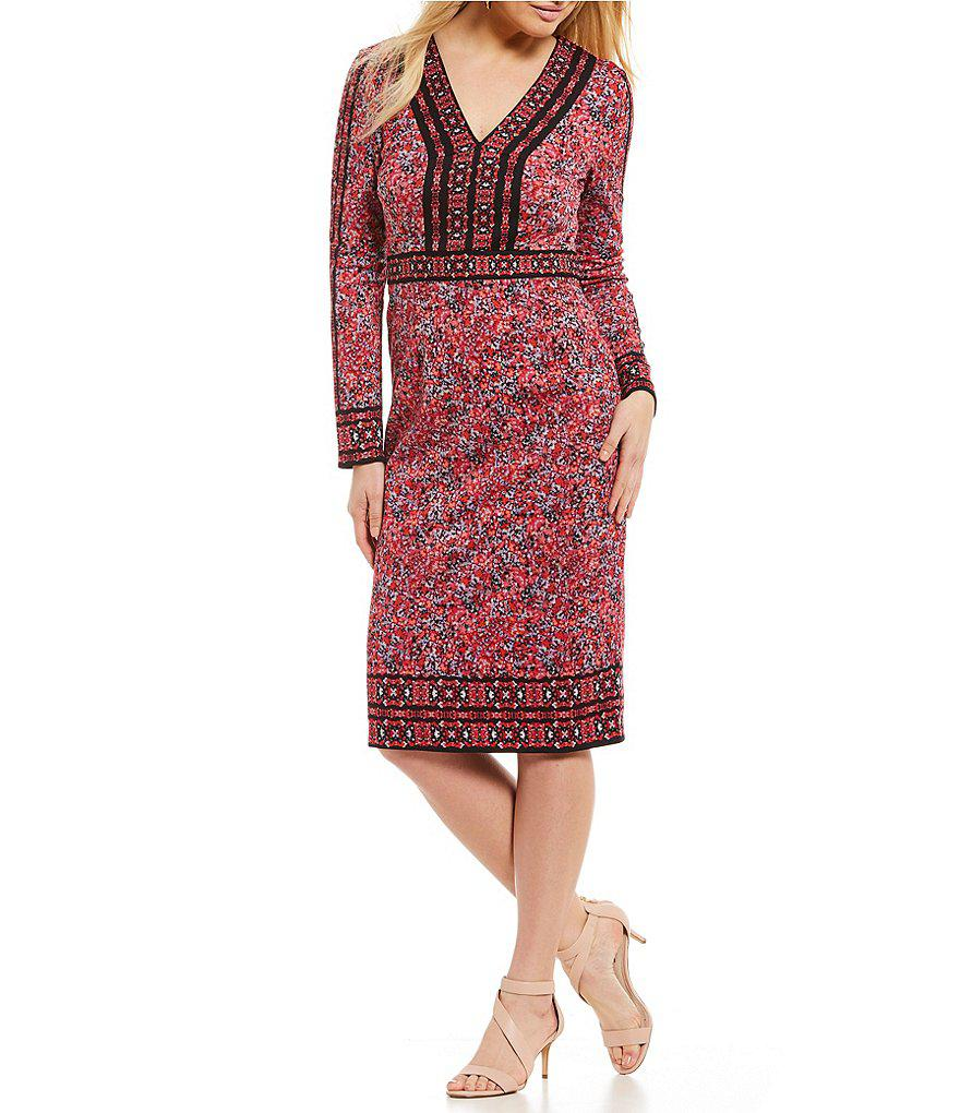 5609cd7d50d Lyst - Maggy London Mosaic Print Sheath Dress in Red